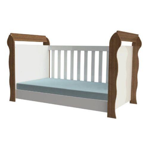 Berço-Mini-Cama-3x1-Lara-Carolina-Baby-Branco/Amadeirado